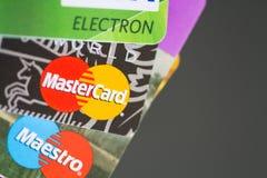 Visto Maestro Mastercard delle carte di credito Fotografia Stock