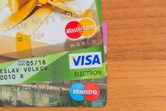 Visto Maestro Mastercard delle carte di credito Fotografie Stock Libere da Diritti