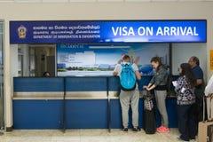 Visto no suporte da chegada no terminal internacional de Bandaranaike fotografia de stock