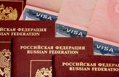 Vistos v3 do passaporte do russo Imagens de Stock Royalty Free