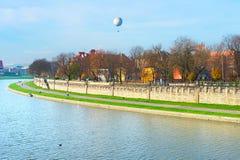 Vistula quayside in Krakow, Poland Stock Images
