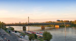 Vistula river and bridge Stock Photos