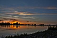 Vistula river and dramatic sky. Royalty Free Stock Images