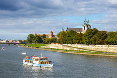 Vistula River in the historic city center of Krakow, Poland Royalty Free Stock Image