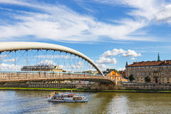 Vistula River in the historic city center of Krakow, Poland Royalty Free Stock Images
