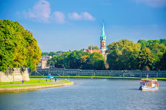 Vistula river and Jewish district, Cracow, Poland Royalty Free Stock Image