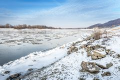 Vistula river landscape in winter time Stock Photo