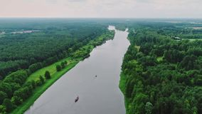 Vistula river, Poland. Areal shoot of two ships on the Narew river, central Poland stock video