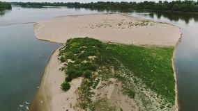 Vistula river, Poland. Low areal shoot over island in the Vistula river, central Poland stock video