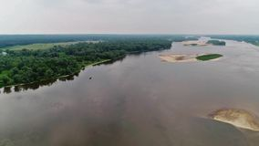 Vistula river, Poland. Panoramic areal shoot of small ship on the Vistula river, central Poland stock video footage