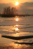 Vistula river in Poland - sunset. Wloclawek in Poland - sunset. Hacked off with ice the Vistula, ice floe on the river Stock Photography