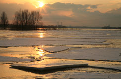 Vistula river in Poland - sunset. Stock Images