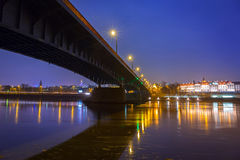 Vistula river scenery with bridge and Royal Castle in Warsaw Royalty Free Stock Photo