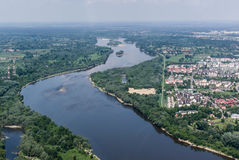 Vistula river in Warsaw - aerial view Royalty Free Stock Image