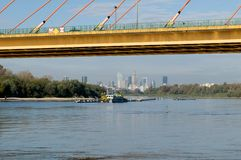 Vistula river and Warsaw panorama. Stock Photo