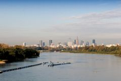 Vistula river and Warsaw panorama. Stock Photos
