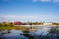 Vistula River and Warsaw Skyline Royalty Free Stock Images