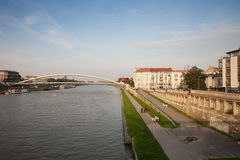 Vistula River Waterfront in Krakow Stock Image