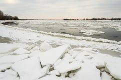 Vistula river in wintertime near kwidzyn on the north of poland Stock Image