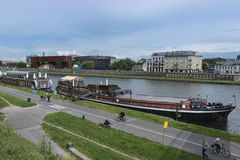 Vistula riverside in Krakow, Poland Stock Images