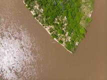 Vistula rzeka blisko Kepa Kielpinska wioski, widok z lotu ptaka obraz stock