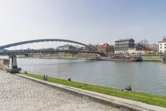Vistula rzeka w Krakow Fotografia Royalty Free