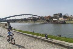 Vistula rzeka w Krakow Zdjęcie Royalty Free