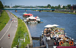 Vistula/Wisla river promenade, Krakow, Poland Royalty Free Stock Photography