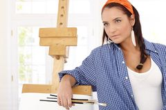 Visual artist at canvas Royalty Free Stock Image