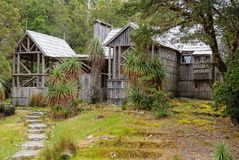 Waldheim Chalet - Cradle Mountain. The visual and audio display inside Waldheim Chalet provides visitors with an insight into the early history of the Cradle stock photo