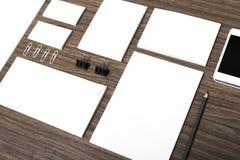 Visual. Blank stack letterhead mock-up photo corporate identity Stock Image