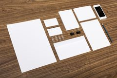Visual. Blank stack letterhead mock-up photo corporate identity Royalty Free Stock Photography