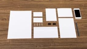 Visual. Blank stack letterhead mock-up photo corporate identity Royalty Free Stock Photos
