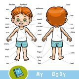 Visual dictionary for children about the human body, the boy. Cartoon visual dictionary for children about the human body. My body parts for a boy Stock Photos