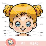 Visual dictionary for children about the human body, girls head. Cartoon visual dictionary for children about the human body. My head parts for a girl Royalty Free Stock Photography