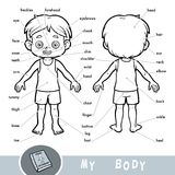 Visual dictionary about the human body. My body parts for a boy. Cartoon visual dictionary for children about the human body. My body parts for a boy vector illustration