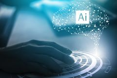 Visual effects. Future technology touch screen interface.Working with future technology called Ai artificial intelligence . royalty free stock photos
