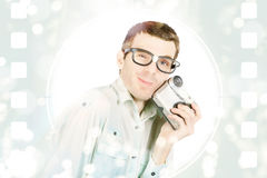 Visual film producer holding video recorder Royalty Free Stock Photography