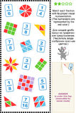 Visual fractions educational math puzzle Stock Images