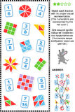 Visual fractions educational math puzzle. Educational math puzzle: Match each fraction to its proper visual representation.  Answer included Royalty Free Stock Image