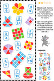 Visual fractions educational math puzzle. Educational math puzzle: Match each fraction to its proper visual representation.  Answer included Stock Images