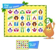 Find  pair  shapes 3. Visual game for children and adults. Find each pair geometry shapes. Educational game Royalty Free Stock Image