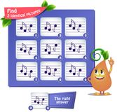 Find 2 identical pictures  musical notes. Visual game for children and adults. Task the find 2 identical pictures musical notes Royalty Free Stock Image