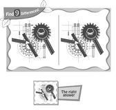 Find 9 differences game architect black. Visual game for children and adults. Task to find 9 differences in the illustration. black and white  illustration Royalty Free Stock Photo