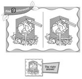 Find 9 differences game paper. Visual game for children and adults. Task to find 9 differences in the illustration . black and white  illustration Stock Image