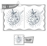 Find 9 differences game  artist palette. Visual game for children and adults. Task to find 9 differences in the illustration. black and white  illustration Royalty Free Stock Photo