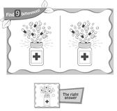 Find 9 differences game medicine black. Visual game for children and adults. Task to find 9 differences in the illustration. black and white  illustration Stock Photography