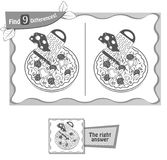 Find 9 differences game pizza. Visual game for children and adults. Task to find 9 differences in the illustration on the school board. black and white Stock Images