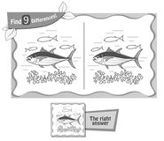 Find 9 differences game black tuna. Visual game for children and adults. Task to find 9 differences in the illustration on the school board. black and white Stock Images