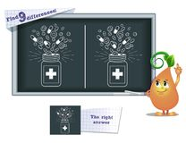 Game find 9 differences draw  medicine. Visual game for children and adults. Task to find 9 differences in the illustration on the school board Stock Images
